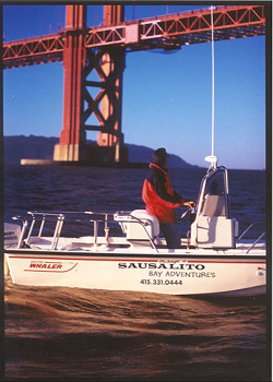 boston whaler under the golden gate bridge